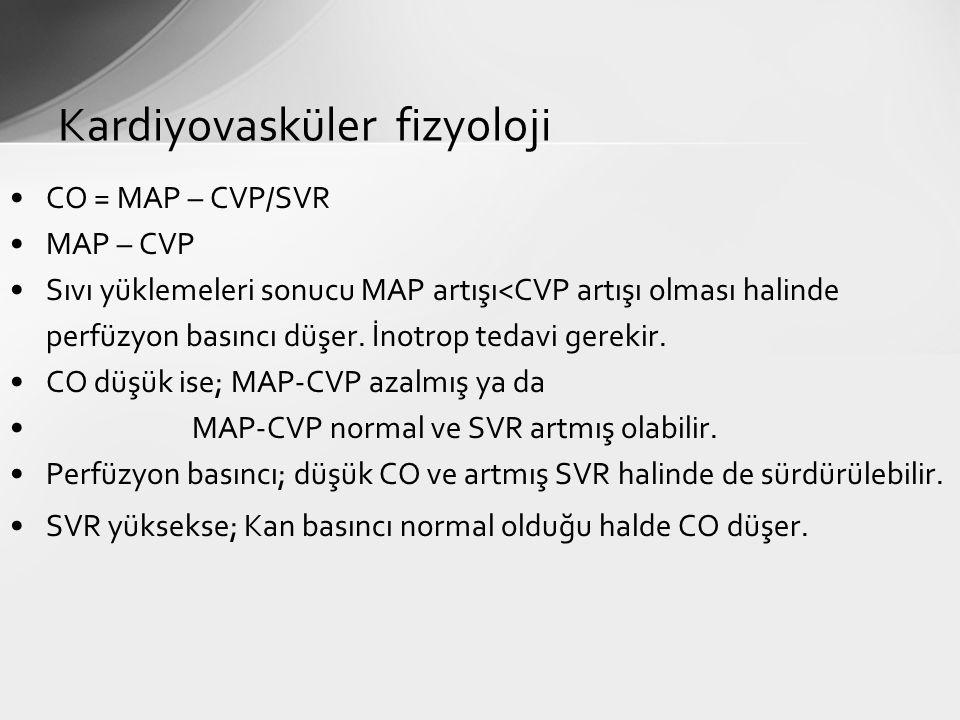 CO = MAP – CVP/SVR MAP – CVP Sıvı yüklemeleri sonucu MAP artışı<CVP artışı olması halinde perfüzyon basıncı düşer. İnotrop tedavi gerekir. CO düşük is