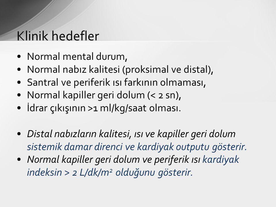 Normal mental durum, Normal nabız kalitesi (proksimal ve distal), Santral ve periferik ısı farkının olmaması, Normal kapiller geri dolum (< 2 sn), İdr
