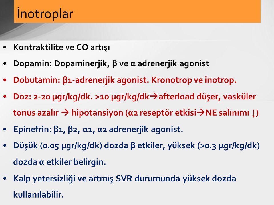 Kontraktilite ve CO artışı Dopamin: Dopaminerjik, β ve α adrenerjik agonist Dobutamin: β1-adrenerjik agonist. Kronotrop ve inotrop. Doz: 2-20 µgr/kg/d