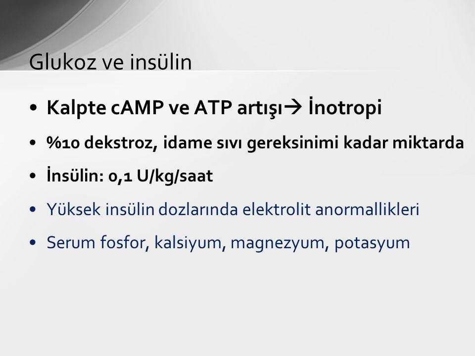 Kalpte cAMP ve ATP artışı  İnotropi %10 dekstroz, idame sıvı gereksinimi kadar miktarda İnsülin: 0,1 U/kg/saat Yüksek insülin dozlarında elektrolit a