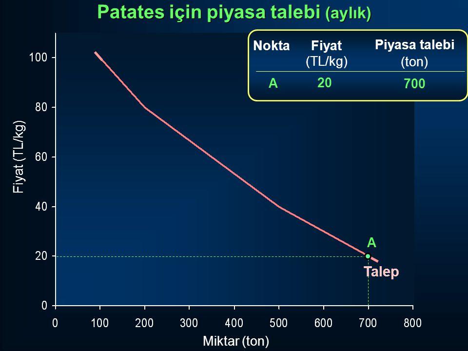 Miktar (ton) Fiyat (TL/kg) Fiyat (TL/kg) 20 Piyasa talebi (ton) 700 A Nokta A Talep Patates için piyasa talebi (aylık)