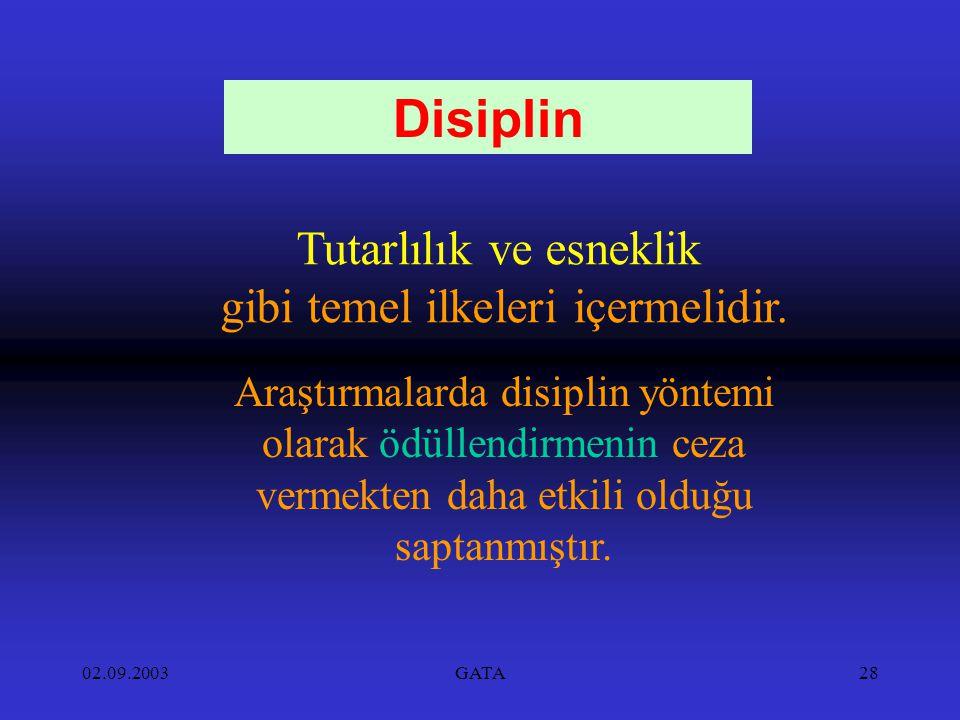 02.09.2003GATA28 Tutarlılık ve esneklik gibi temel ilkeleri içermelidir. Disiplin Araştırmalarda disiplin yöntemi olarak ödüllendirmenin ceza vermekte