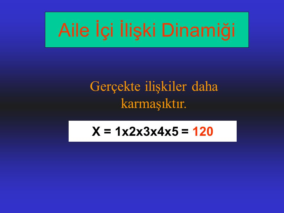 X = 1x2x3x4x5 = 120 Gerçekte ilişkiler daha karmaşıktır. Aile İçi İlişki Dinamiği