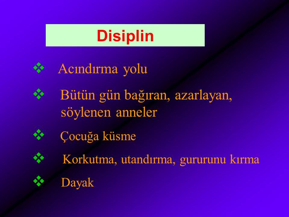 Disiplin  Acındırma yolu  Bütün gün bağıran, azarlayan, söylenen anneler  Çocuğa küsme  Korkutma, utandırma, gururunu kırma  Dayak