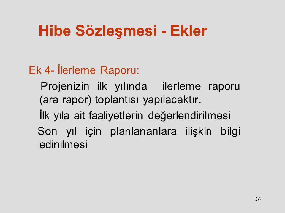 26 Hibe Sözleşmesi - Ekler Ek 4- İlerleme Raporu: Projenizin ilk yılında ilerleme raporu (ara rapor) toplantısı yapılacaktır.