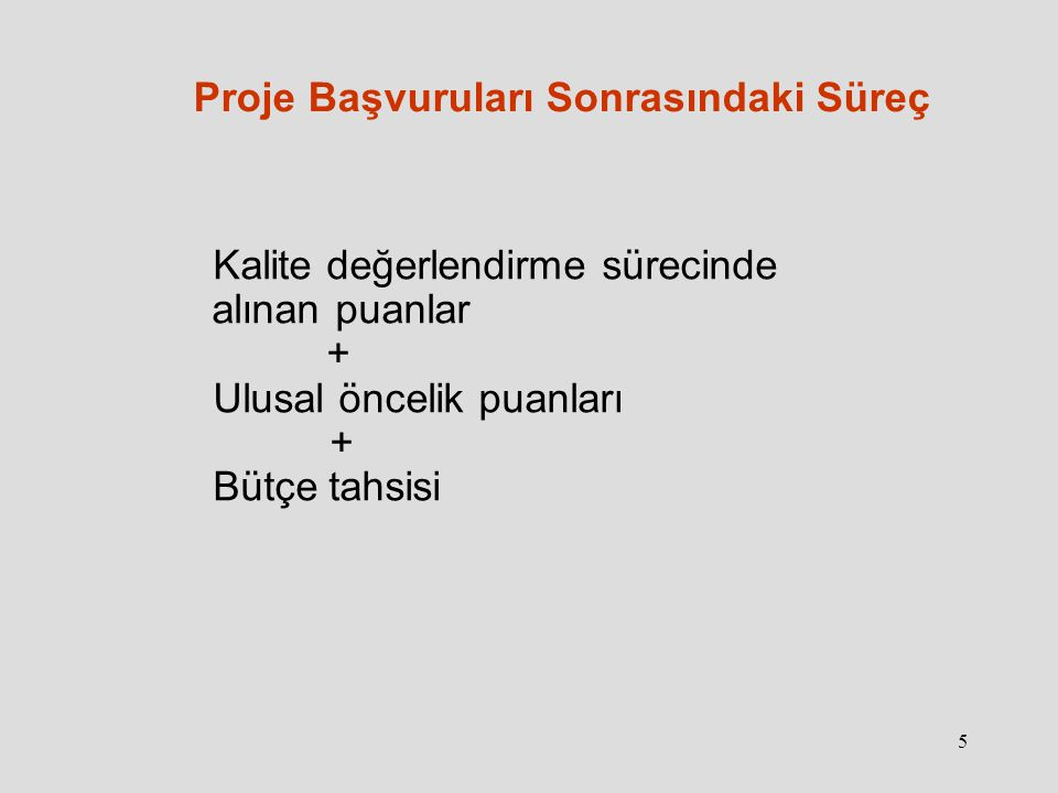 6 Proje Başvuruları Sonrasındaki Süreç Kabul listesinde yer almayan kurumlar: a.