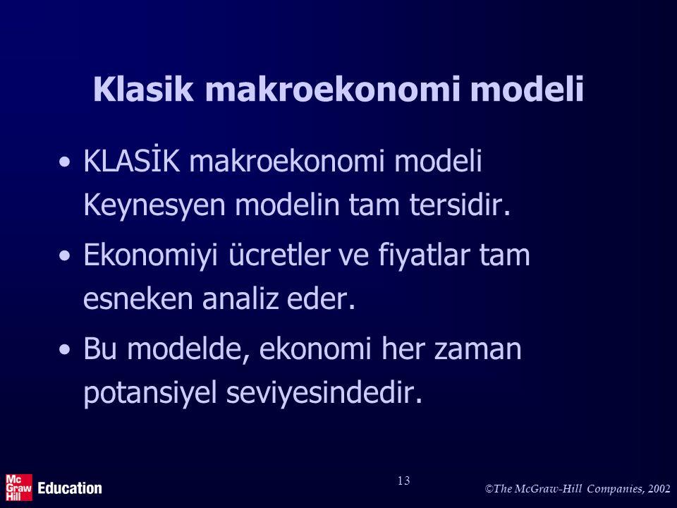 © The McGraw-Hill Companies, 2002 13 Klasik makroekonomi modeli KLASİK makroekonomi modeli Keynesyen modelin tam tersidir. Ekonomiyi ücretler ve fiyat