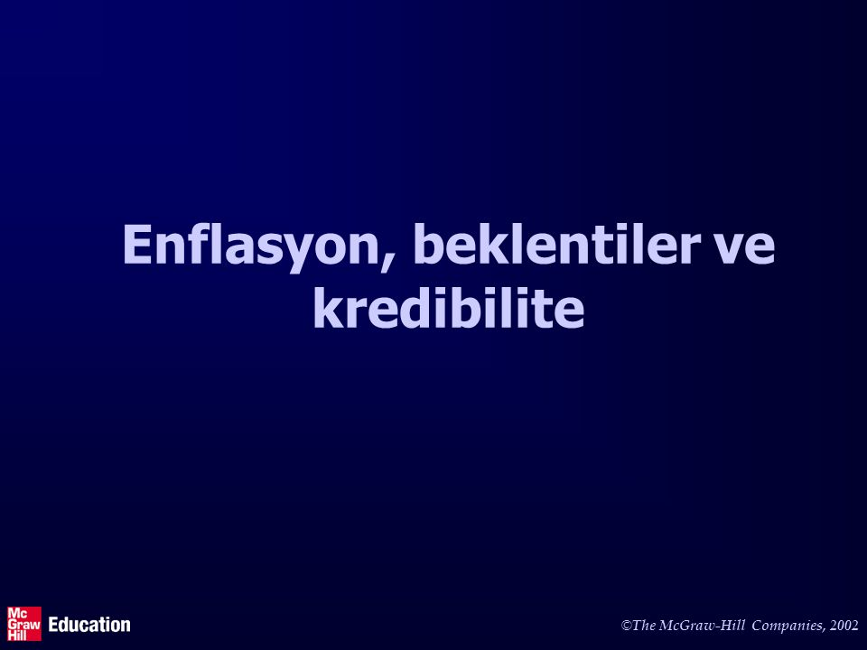 © The McGraw-Hill Companies, 2002 Enflasyon, beklentiler ve kredibilite