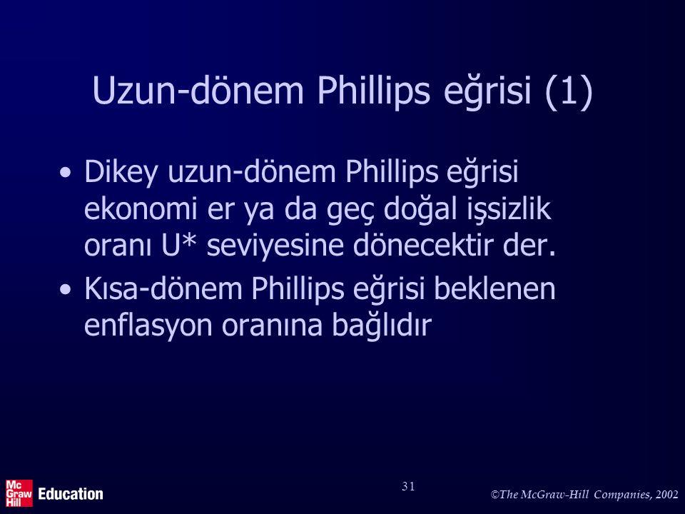 © The McGraw-Hill Companies, 2002 31 Uzun-dönem Phillips eğrisi (1) Dikey uzun-dönem Phillips eğrisi ekonomi er ya da geç doğal işsizlik oranı U* sevi