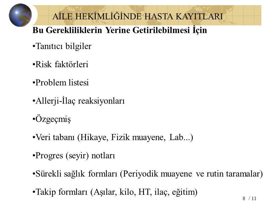 AİLE HEKİMLİĞİNDE HASTA KAYITLARI / 118 Bu Gerekliliklerin Yerine Getirilebilmesi İçin Tanıtıcı bilgiler Problem listesi Allerji-İlaç reaksiyonları Öz