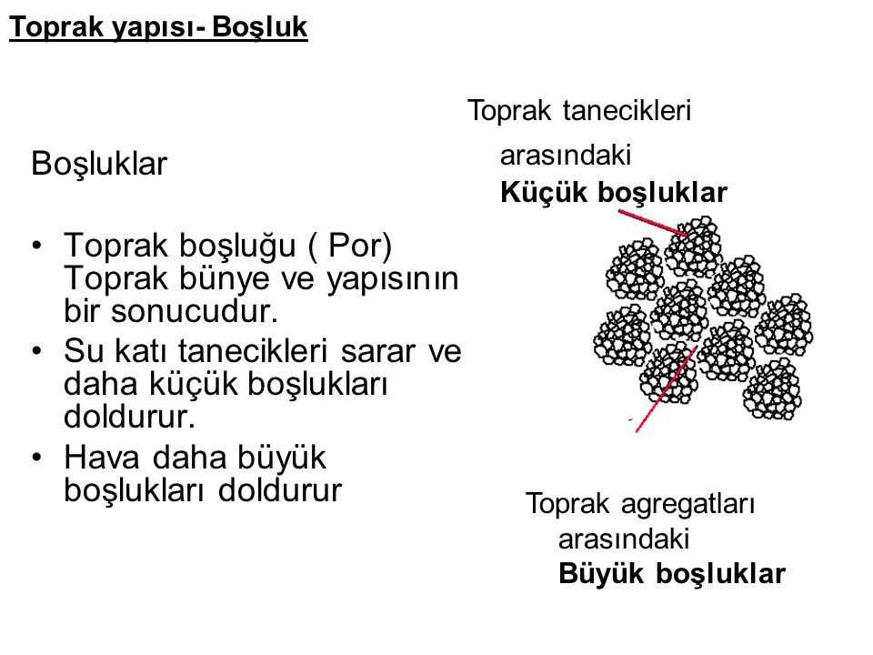 Boşluklar Toprak boşluğu ( Por) Toprak bünye ve yapısının bir sonucudur.