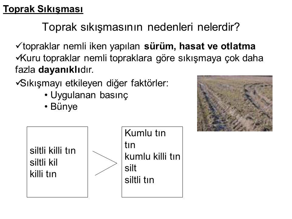Toprak sıkışmasının nedenleri nelerdir? topraklar nemli iken yapılan sürüm, hasat ve otlatma Kuru topraklar nemli topraklara göre sıkışmaya çok daha f
