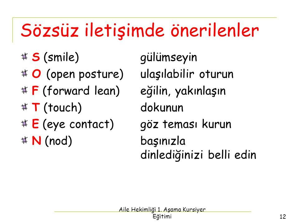 Aile Hekimliği 1. Aşama Kursiyer Eğitimi12 Sözsüz iletişimde önerilenler S (smile)gülümseyin O (open posture) ulaşılabilir oturun F (forward lean)eğil