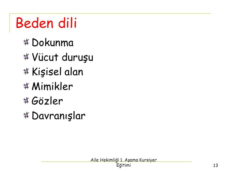 Aile Hekimliği 1. Aşama Kursiyer Eğitimi13 Beden dili Dokunma Vücut duruşu Kişisel alan Mimikler Gözler Davranışlar