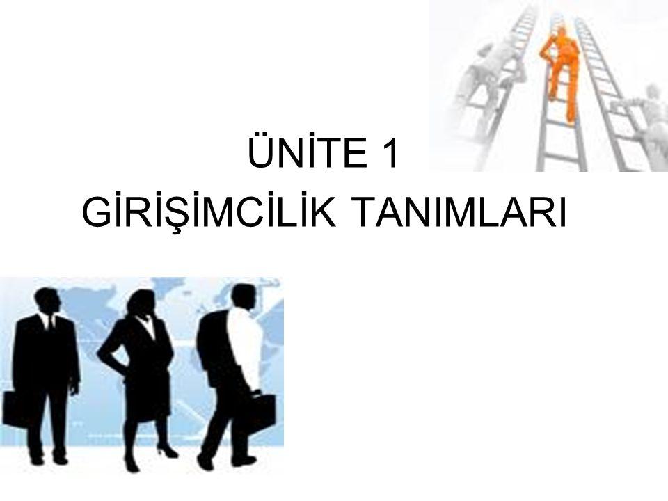 ÜNİTE 1 GİRİŞİMCİLİK TANIMLARI