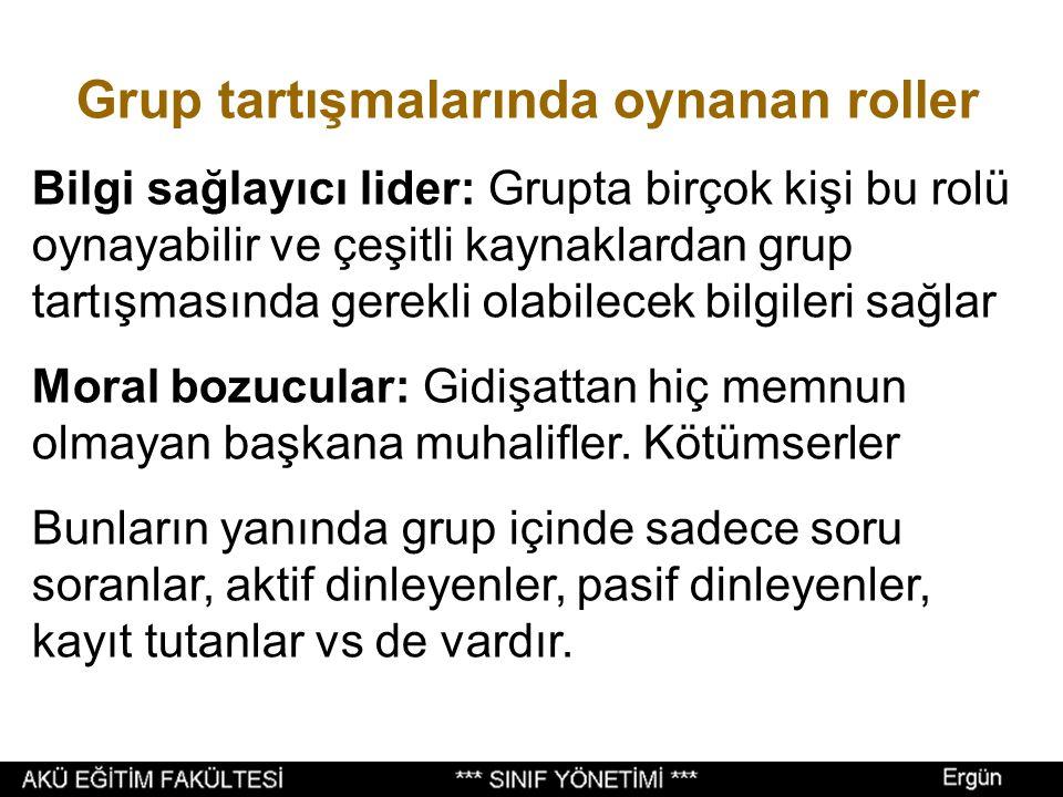 Grup tartışmalarında oynanan roller Görevli lider: Grubun üst seviyesinde, iyi eğitimli, daha tecrübeli, grup üyelerinden ve grup görevinden kendisini