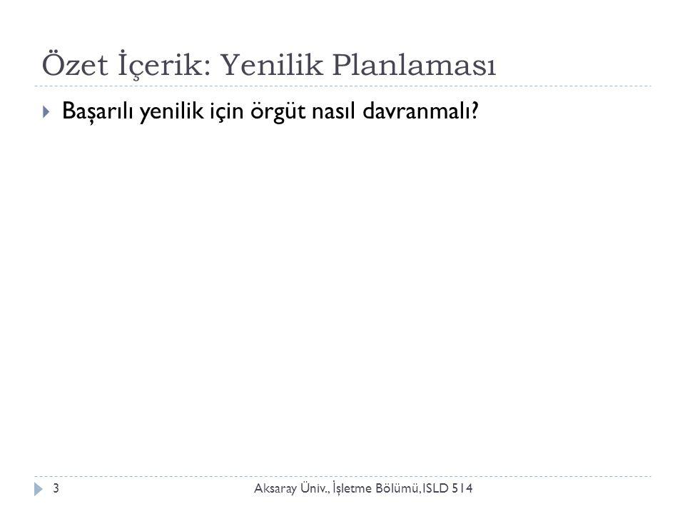 Özet İçerik: Yenilik Planlaması Aksaray Üniv., İ şletme Bölümü, ISLD 5143  Başarılı yenilik için örgüt nasıl davranmalı?