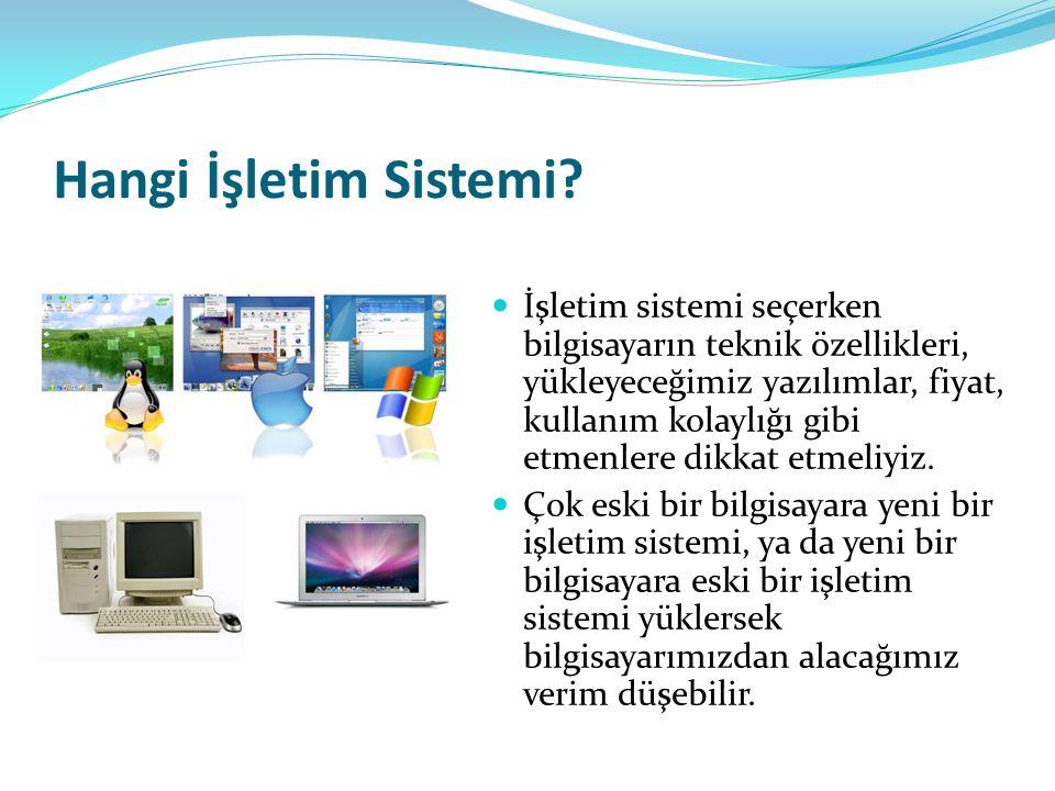 Hangi İşletim Sistemi? İşletim sistemi seçerken bilgisayarın teknik özellikleri, yükleyeceğimiz yazılımlar, fiyat, kullanım kolaylığı gibi etmenlere d