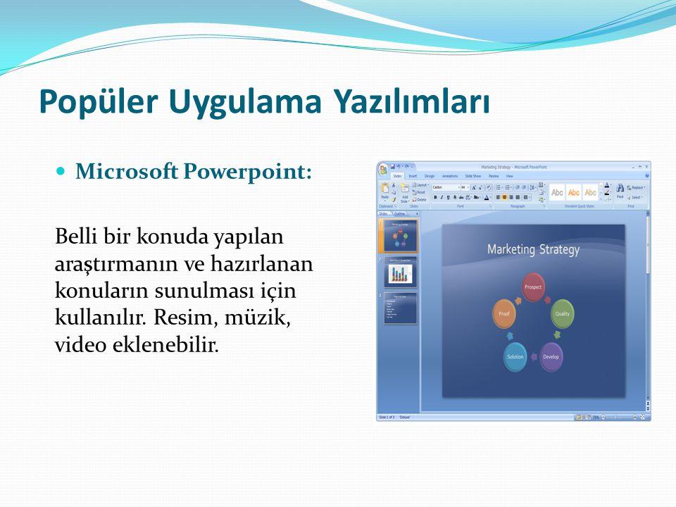Popüler Uygulama Yazılımları Microsoft Powerpoint: Belli bir konuda yapılan araştırmanın ve hazırlanan konuların sunulması için kullanılır. Resim, müz