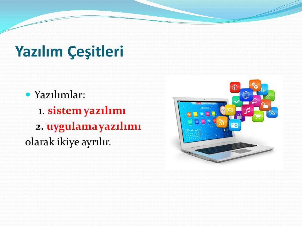 Yazılım Çeşitleri Yazılımlar: 1. sistem yazılımı 2. uygulama yazılımı olarak ikiye ayrılır.