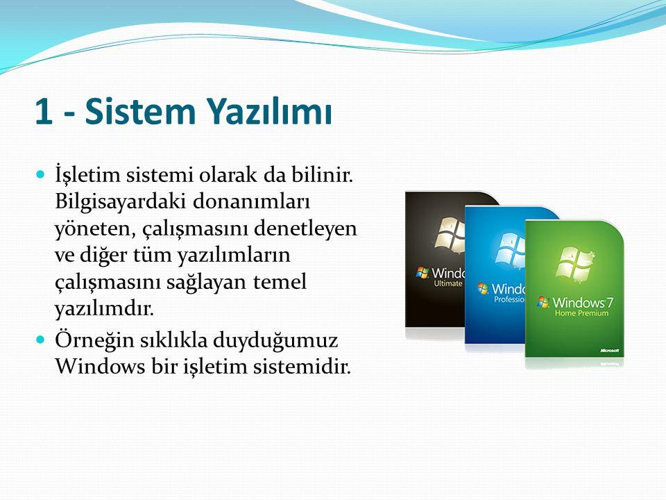 1 - Sistem Yazılımı İşletim sistemi olarak da bilinir. Bilgisayardaki donanımları yöneten, çalışmasını denetleyen ve diğer tüm yazılımların çalışmasın