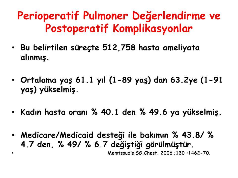 Perioperatif Pulmoner Değerlendirme ve Postoperatif Komplikasyonlar Bu belirtilen süreçte 512,758 hasta ameliyata alınmış. Ortalama yaş 61.1 yıl (1-89