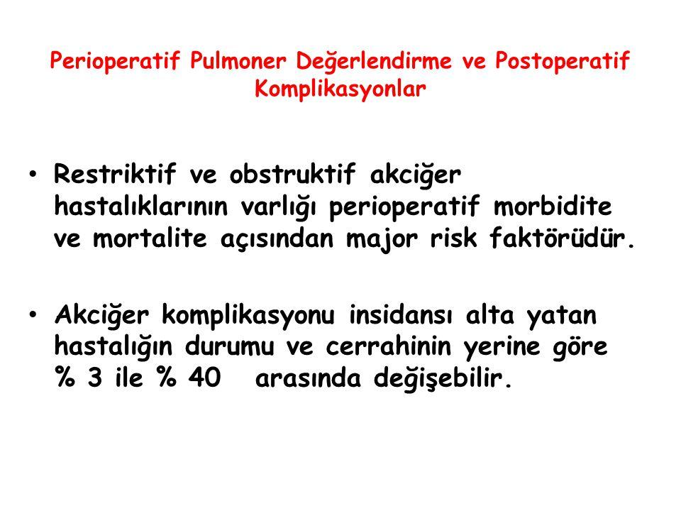 Perioperatif Pulmoner Değerlendirme ve Postoperatif Komplikasyonlar Restriktif ve obstruktif akciğer hastalıklarının varlığı perioperatif morbidite ve