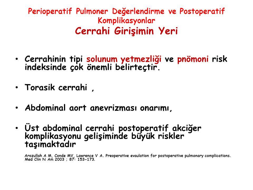 Perioperatif Pulmoner Değerlendirme ve Postoperatif Komplikasyonlar Cerrahi Girişimin Yeri Cerrahinin tipi solunum yetmezliği ve pnömoni risk indeksin