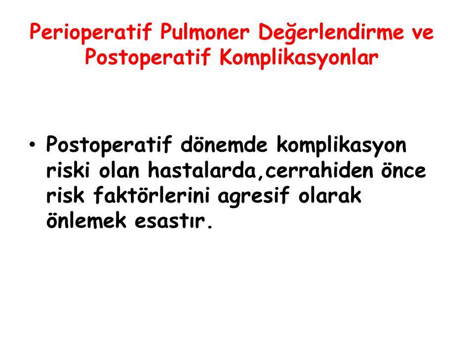 Perioperatif Pulmoner Değerlendirme ve Postoperatif Komplikasyonlar Cerrahi Girişimin Yeri İskemik kalp hastalıkları, Malignite nedeni ile operasyon İleri yaş Postoperatif akciğer komplikasyonu için bağımsız risk faktörleri olduğu düşünülmüştür.