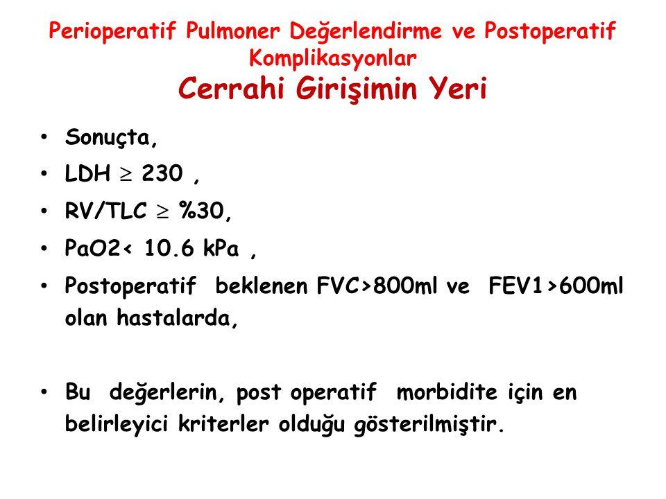 Perioperatif Pulmoner Değerlendirme ve Postoperatif Komplikasyonlar Cerrahi Girişimin Yeri Sonuçta, LDH  230, RV/TLC  %30, PaO2< 10.6 kPa, Postopera