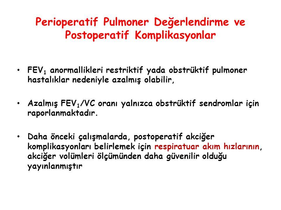 Perioperatif Pulmoner Değerlendirme ve Postoperatif Komplikasyonlar FEV 1 anormallikleri restriktif yada obstrüktif pulmoner hastalıklar nedeniyle aza