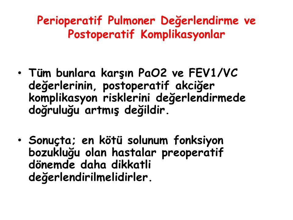 Perioperatif Pulmoner Değerlendirme ve Postoperatif Komplikasyonlar Tüm bunlara karşın PaO2 ve FEV1/VC değerlerinin, postoperatif akciğer komplikasyon