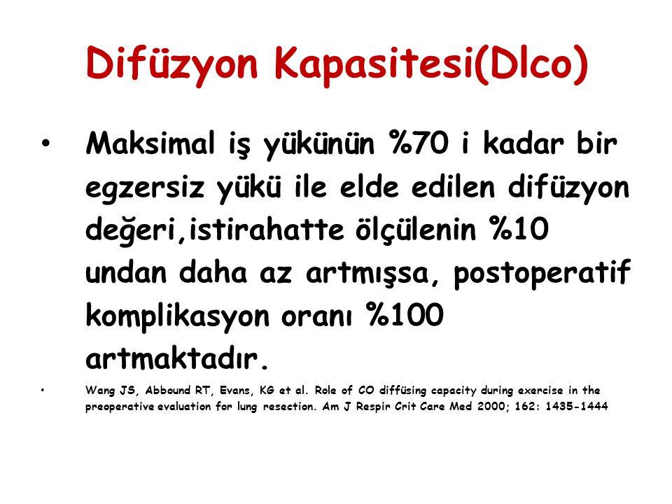 Difüzyon Kapasitesi(Dlco) Maksimal iş yükünün %70 i kadar bir egzersiz yükü ile elde edilen difüzyon değeri,istirahatte ölçülenin %10 undan daha az ar