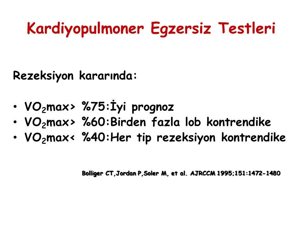 Kardiyopulmoner Egzersiz Testleri Rezeksiyon kararında: VO 2 max> %75:İyi prognoz VO 2 max> %60:Birden fazla lob kontrendike VO 2 max< %40:Her tip rez