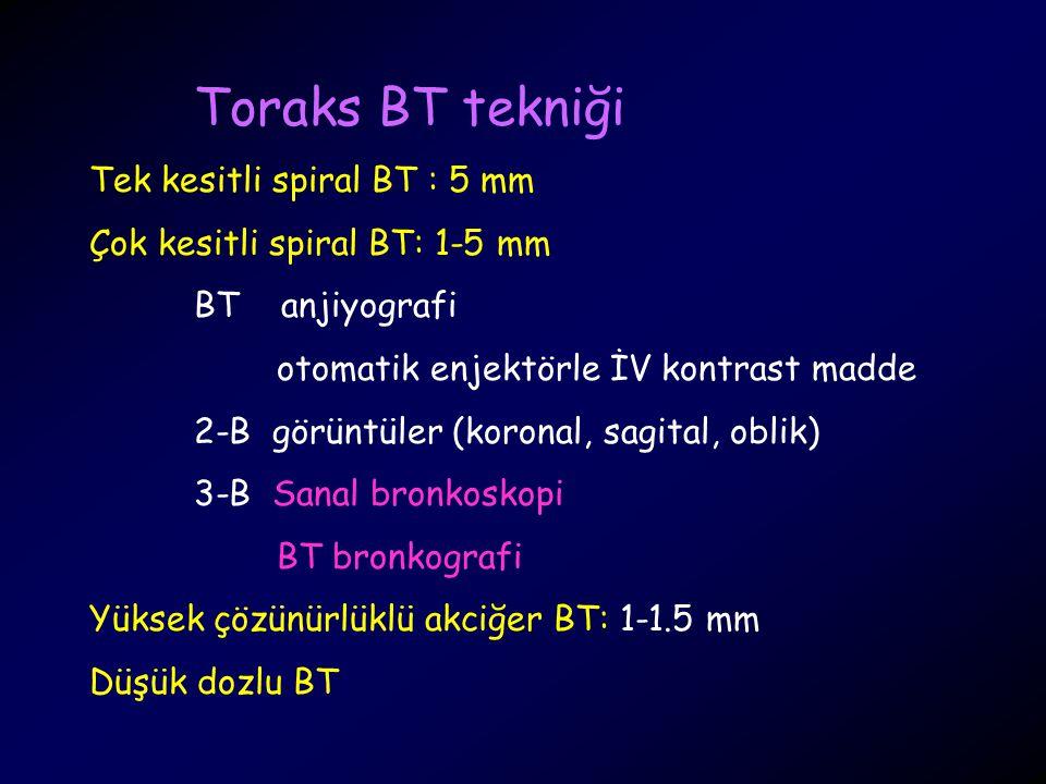 Toraks BT tekniği Tek kesitli spiral BT : 5 mm Çok kesitli spiral BT: 1-5 mm BT anjiyografi otomatik enjektörle İV kontrast madde 2-B görüntüler (koro