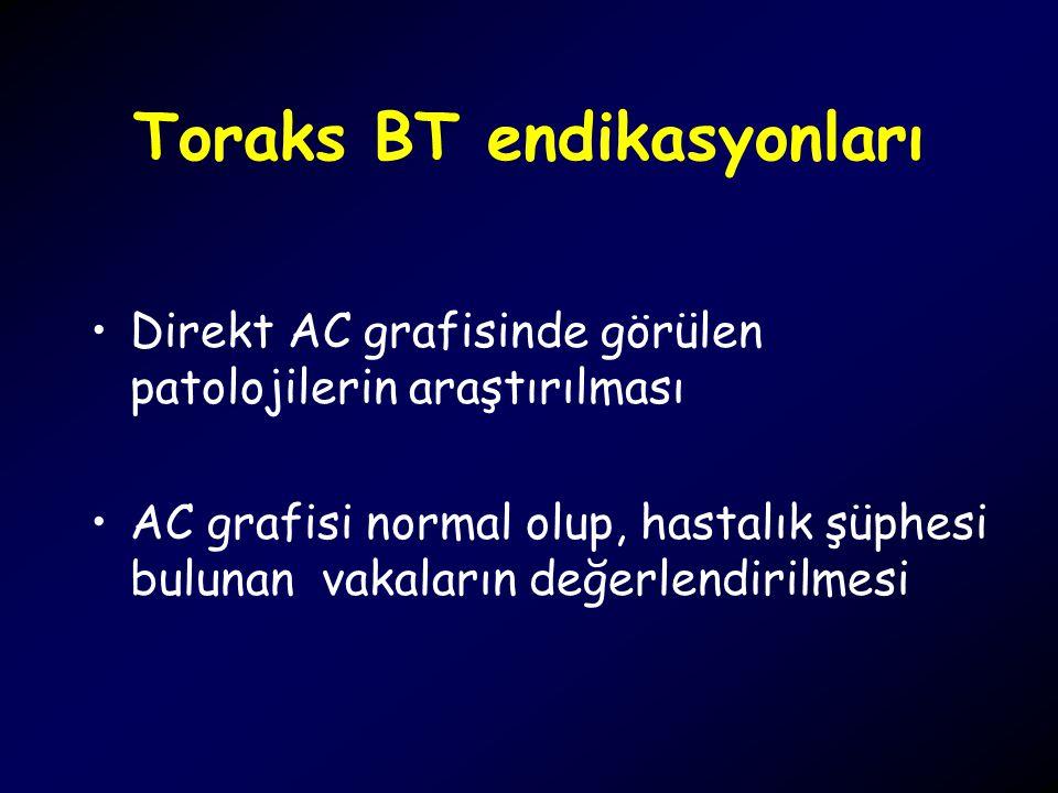 Toraks BT endikasyonları Direkt AC grafisinde görülen patolojilerin araştırılması AC grafisi normal olup, hastalık şüphesi bulunan vakaların değerlend