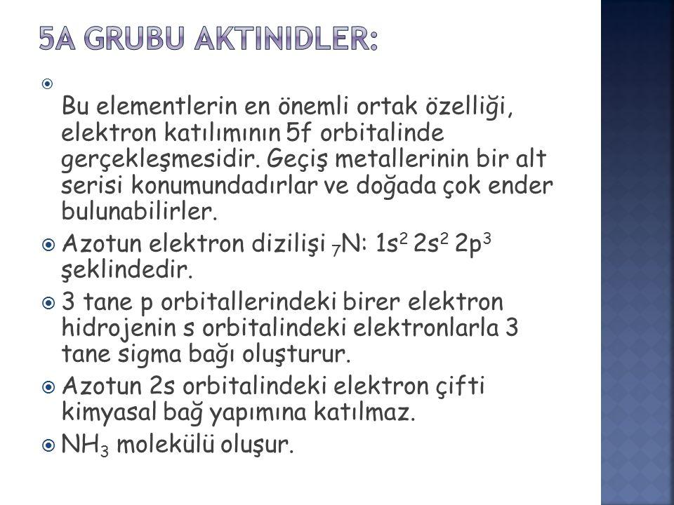  Bu elementlerin en önemli ortak özelliği, elektron katılımının 5f orbitalinde gerçekleşmesidir.