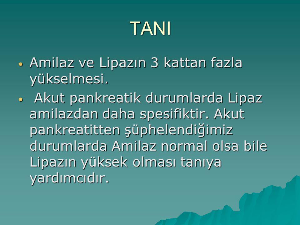TANI Amilaz ve Lipazın 3 kattan fazla yükselmesi. Amilaz ve Lipazın 3 kattan fazla yükselmesi. Akut pankreatik durumlarda Lipaz amilazdan daha spesifi