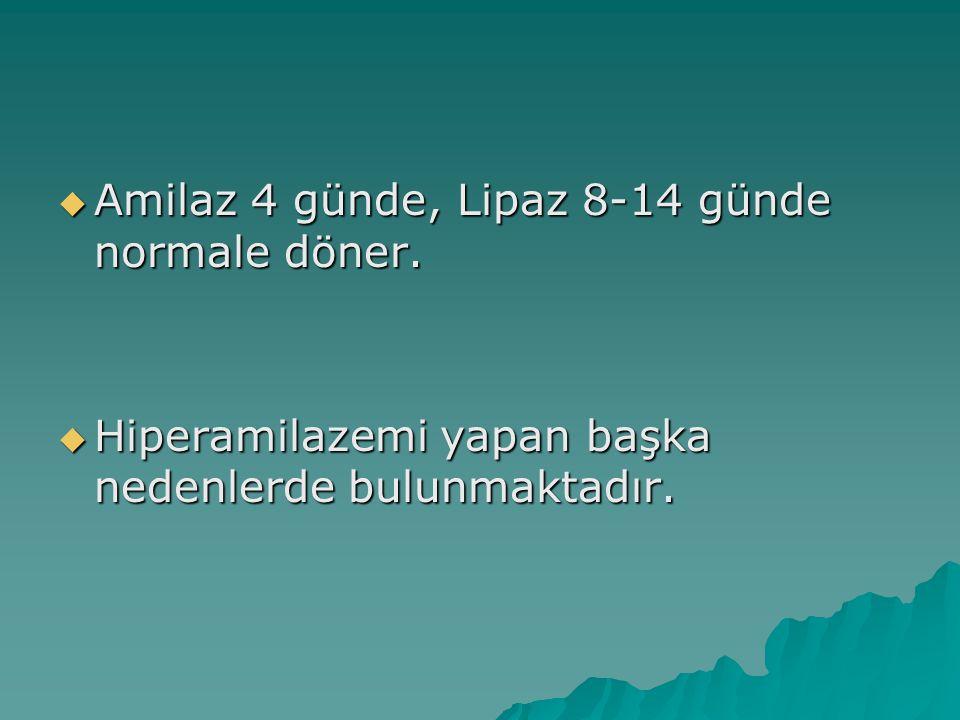 Amilaz 4 günde, Lipaz 8-14 günde normale döner.  Hiperamilazemi yapan başka nedenlerde bulunmaktadır.