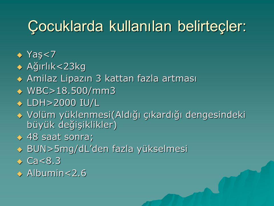 Çocuklarda kullanılan belirteçler:  Yaş<7  Ağırlık<23kg  Amilaz Lipazın 3 kattan fazla artması  WBC>18.500/mm3  LDH>2000 IU/L  Volüm yüklenmesi(