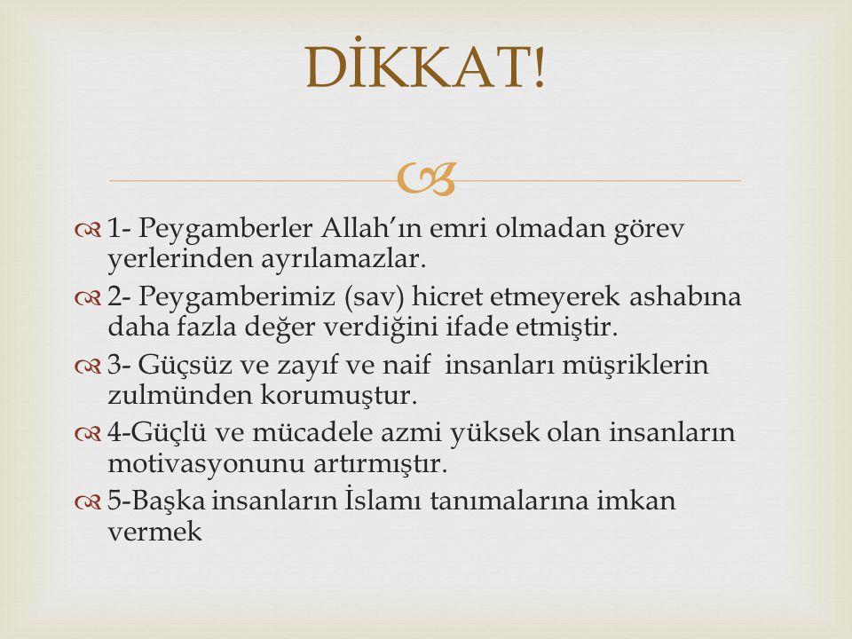   1- Peygamberler Allah'ın emri olmadan görev yerlerinden ayrılamazlar.