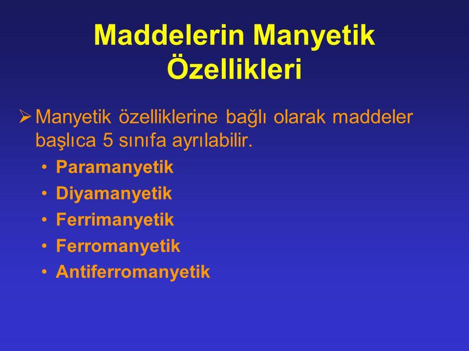 Maddelerin Manyetik Özellikleri  Manyetik özelliklerine bağlı olarak maddeler başlıca 5 sınıfa ayrılabilir.