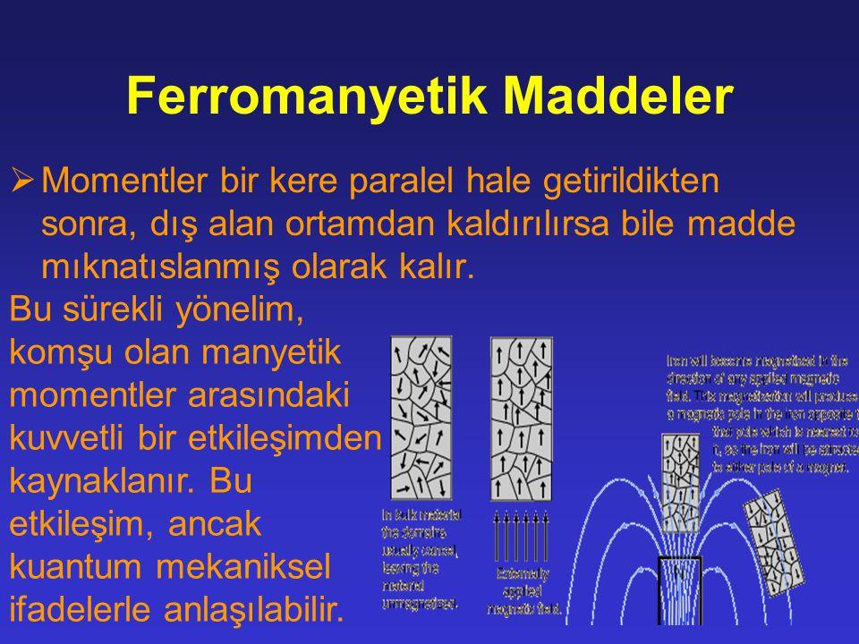 Ferromanyetik Maddeler  Momentler bir kere paralel hale getirildikten sonra, dış alan ortamdan kaldırılırsa bile madde mıknatıslanmış olarak kalır.
