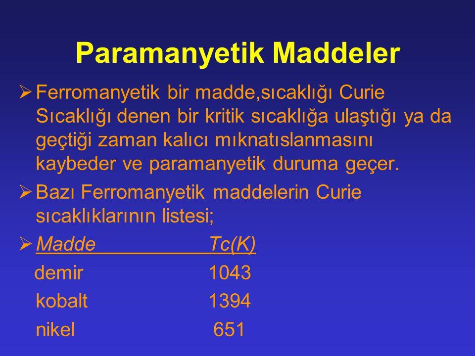 Paramanyetik Maddeler  Ferromanyetik bir madde,sıcaklığı Curie Sıcaklığı denen bir kritik sıcaklığa ulaştığı ya da geçtiği zaman kalıcı mıknatıslanmasını kaybeder ve paramanyetik duruma geçer.