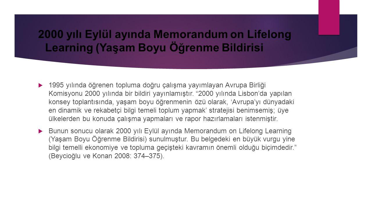 2000 yılı Eylül ayında Memorandum on Lifelong Learning (Yaşam Boyu Öğrenme Bildirisi  1995 yılında öğrenen topluma doğru çalışma yayımlayan Avrupa Bi