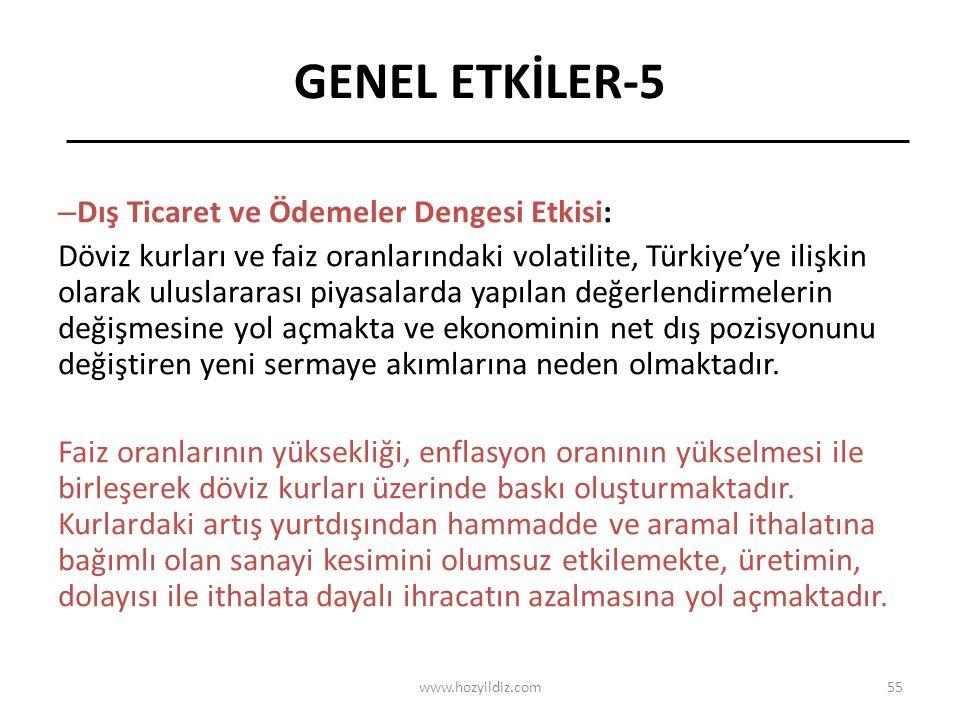 55 GENEL ETKİLER-5 – Dış Ticaret ve Ödemeler Dengesi Etkisi: Döviz kurları ve faiz oranlarındaki volatilite, Türkiye'ye ilişkin olarak uluslararası piyasalarda yapılan değerlendirmelerin değişmesine yol açmakta ve ekonominin net dış pozisyonunu değiştiren yeni sermaye akımlarına neden olmaktadır.