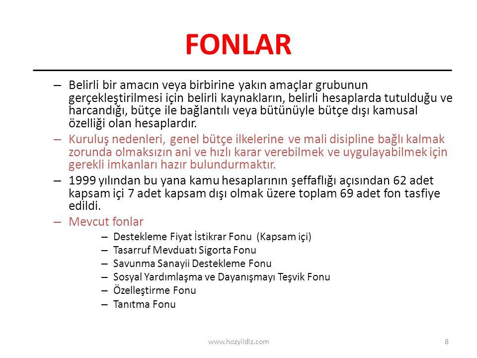 8 FONLAR – Belirli bir amacın veya birbirine yakın amaçlar grubunun gerçekleştirilmesi için belirli kaynakların, belirli hesaplarda tutulduğu ve harcandığı, bütçe ile bağlantılı veya bütünüyle bütçe dışı kamusal özelliği olan hesaplardır.