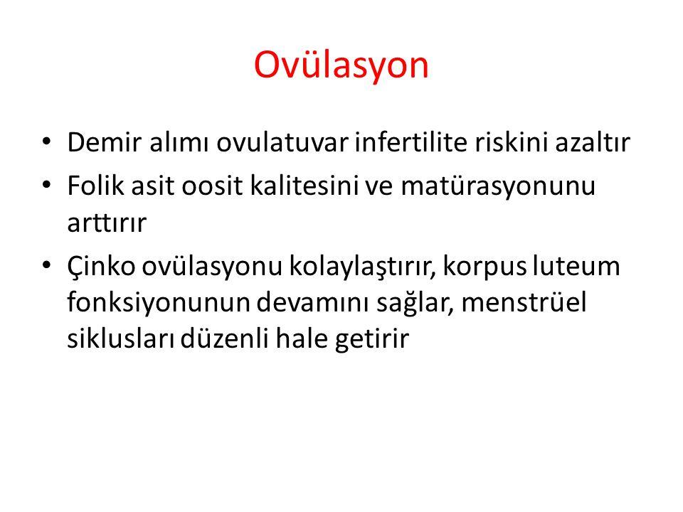 Ovülasyon Demir alımı ovulatuvar infertilite riskini azaltır Folik asit oosit kalitesini ve matürasyonunu arttırır Çinko ovülasyonu kolaylaştırır, korpus luteum fonksiyonunun devamını sağlar, menstrüel siklusları düzenli hale getirir