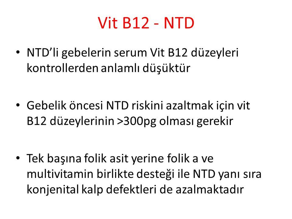 Vit B12 - NTD NTD'li gebelerin serum Vit B12 düzeyleri kontrollerden anlamlı düşüktür Gebelik öncesi NTD riskini azaltmak için vit B12 düzeylerinin >300pg olması gerekir Tek başına folik asit yerine folik a ve multivitamin birlikte desteği ile NTD yanı sıra konjenital kalp defektleri de azalmaktadır