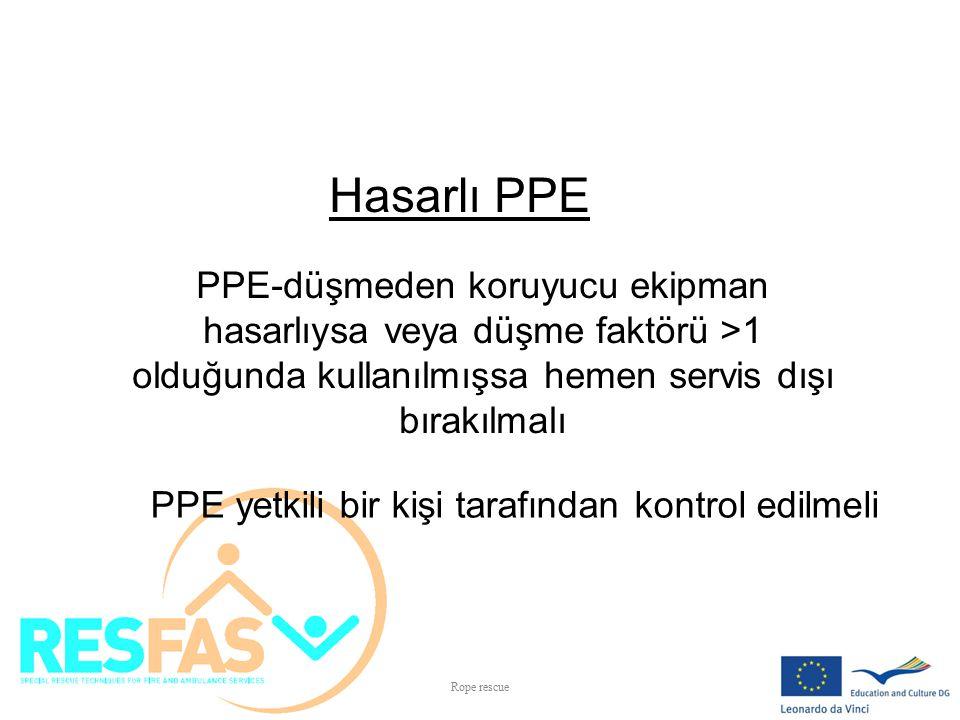 Hasarlı PPE PPE-düşmeden koruyucu ekipman hasarlıysa veya düşme faktörü >1 olduğunda kullanılmışsa hemen servis dışı bırakılmalı PPE yetkili bir kişi